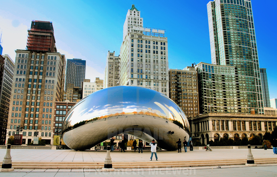 """Skyscrapers and The Bean"" stock image"